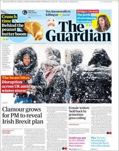 Portada de The Guardian (Reino Unido) Magazine Design Inspiration, Winter Storm, The Guardian, Editorial Design, News Design, Newspaper, Grid, Travelling, United Kingdom