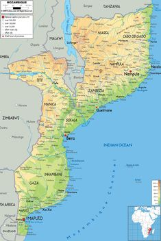 Map of Mozambique and Political Map. This is where my parents live as missionaries. Maputo, Tanzania, Oh The Places You'll Go, Places To Travel, Geography Map, Country Maps, African Countries, East Africa, Africa Travel