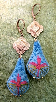Beautiful colors and design in these embroidered earrings by Barbara Schar for Stitching Wonderland.