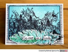 Darkroom Door Birds On Tree Photo Stamp. Card by Belinda Spencer.