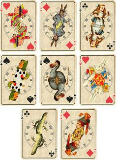 Vintage Inspired Alice in Wonderland Ivory Playing Cards Tags Set 2 ATC Set of 8 | eBay