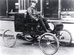 """The first automobile to be mass produced in the United States was the 1901, Curved Dash Oldsmobile, built by the American car manufacturer Ransome Eli Olds (1864-1950). Olds invented the basic concept of the assembly line and started the Detroit area automobile industry. He first began making steam and gasoline engines with his father, Pliny Fisk Olds, in Lansing, Michigan in 1885. . He produced 425 """"Curved Dash Olds"""" in 1901, and was America's leading auto manufacturer from 1901 to 1904."""