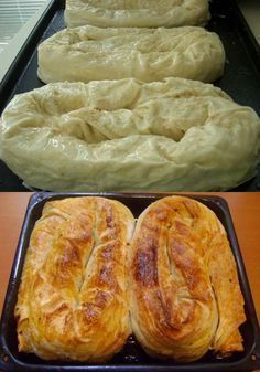 How to make the Sarıyer (stuffed with the minced meat, chopped onion and the spices -an Istanbul speciality) rolled pastry. Albanian Recipes, Turkish Recipes, Pastry Recipes, Baking Recipes, Savory Pastry, Bread And Pastries, Snacks, Food Humor, Kitchen Recipes