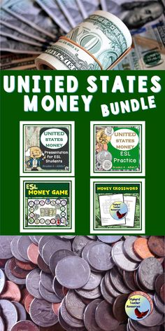Use these ESL Activities to help your students learn about U. Money Vocabulary and to give your English Language Learners plenty of opportunities to practice English money skills. Teaching English Grammar, English Language Learners, English Vocabulary, Money Activities, Grammar Activities, Esl Lessons, English Lessons, English Writing Exercises, Teacher Resources