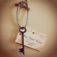 http://concertoincassandra.blogspot.com/2012/06/key-to-crafty-happiness.html Skeleton key wedding escort cards