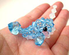 Blue Narwhal Figurine  Beaded Swarovski Crystal by SparkleMeHappy