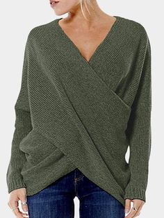 Sexy Women Cross V-neck Pullover Long Sleeve Sweaters at Banggood 65f6f2130