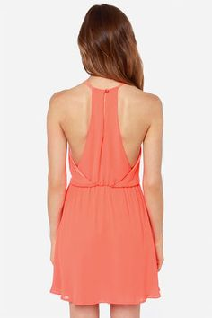Pretty Neon Orange Dress - Sleeveless Dress - $38.00