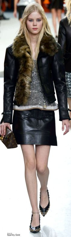 Louis Vuitton ~ Black Leather Jacket and Mini Skirt, Fall 2015 RTW