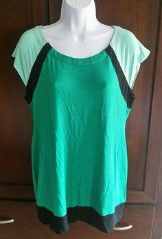 Women's Lavish By Heidi Klum LARGE Maternity Short Sleeve Green Color Block Top #LAVISHHEIDIKLUM #KnitTop #Casual