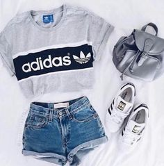 Waist Jeans tshirt Shirt: adidas t- top addidas grey t- denim shorts adidas top crop tops shorts hi. Shirt: adidas t- top addidas grey t- denim shorts adidas top crop tops shorts high waisted shorts Teen Fashion Outfits, Mode Outfits, Look Fashion, Outfits For Teens, Trendy Outfits, Fall Outfits, Trendy Fashion, Fashion Women, Fashion Clothes