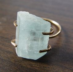 Love this! Natural Aquamarine Gold Ring OOAK by friedasophie on Etsy