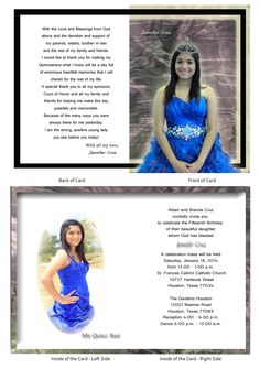 "Quinceanera Card 3...this is a 5"" x 7"" open-close booklet style invitation."