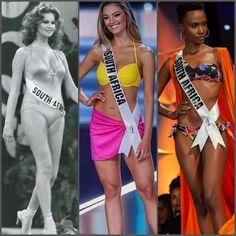 Southafrican queens🇿🇦🇿🇦 Miss Universe 1978 Margaret Gardiner Miss Universe 2017 Demi-Leigh Nel-Peters Miss Universe 2019 Zozibini Tunzi Demi Leigh Nel Peters, Miss World, Queens, Brazil, Universe, Thea Queen
