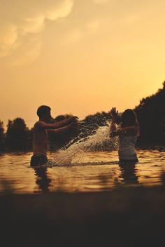 Beth and Ryan playing in the water ~ Summers with family and friends ~ The Final Piece by Maggi Myers