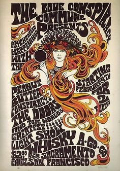 Psychedelic Vintage concert poster: The Doors, Peanut Butter Conspiracy Rock Posters, Band Posters, Psychedelic Art, Rock Vintage, Vintage Music, Vintage Concert Posters, Vintage Posters, Retro Posters, Whiskey A Go Go