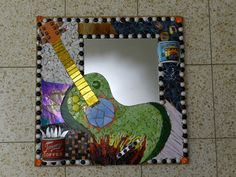 Made from stained glass, beads, recycled mugs and mirror. not yet grouted. its size is about 60 by 60 cm by Mirror Mosaic, Mosaic Wall, Mosaic Glass, Mosaic Tiles, Glass Art, Mirror Mirror, Sea Glass, Stained Glass Birds, Stained Glass Panels
