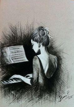 "Bianca Paraschiv~ Pencil Drawing Artwork ""Playing piano"""