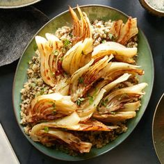 Braised Fennel with Lentil-Quinoa Pilaf.