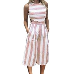 2a219c4baebc FDelinK Women Summer Striped Sleeveless Jumpsuit Casual Beach Wide Leg  Romper Playsuit Pants Outfit Pink M    Inspect this awesome item by going  to the link ...