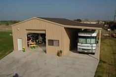 Work shop with covered parking for RV. Add shed off other side as well for tractor/boat parking Steel Garage Buildings, Metal Garages, Shop Buildings, Storage Buildings, Pole Barn Garage, Carport Garage, Pole Barns, Garage Plans, Garage Ideas