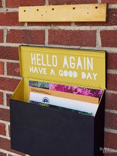 Create pretty curb appeal that's business on the outside and a party on the inside. Tape off the exterior of a mailbox with painters tape, and spray-paint the inside a peppy hue. Stencil or freehand a fun message or phrase on the lid, and fill in with paint.
