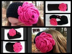 Crocheted Gorgeous Hot Pink And Black Adult by LittleAngelsFarms, $30.99
