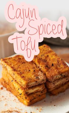 Need some recipes for tofu? Try this Cajun Spiced Tofu! Tofu Dishes, Vegan Dishes, Whole Food Recipes, Cooking Recipes, Cooking Tips, Flour Recipes, Tufu Recipes, Sunday Recipes, Picnic Recipes
