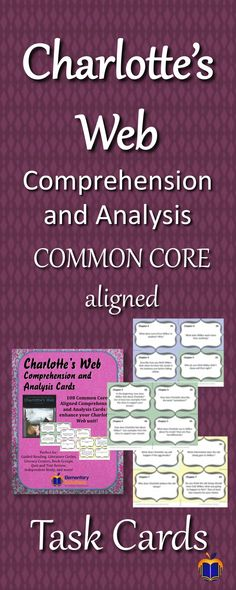 Charlotte's Web Common Core Aligned Comprehension Questions - in Task Card format!