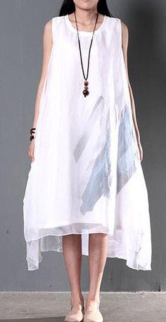 a0fac2224b21 2016 Original design white flown layered sundress linen dress cotton summer  clothing White Linen Dresses