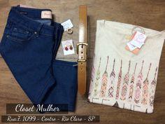 Look Closet Mulher  Jeans, top, acessórios  www. Facebook/closetmulher.com