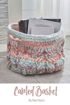 Cabled Basket free crochet pattern in Collage yarn.