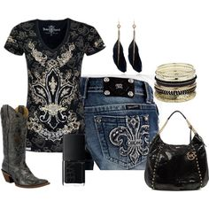 A fashion look from December 2012 featuring pattern shirt, slim fit jeans and black cowgirl boots. Browse and shop related looks. Country Style Outfits, Country Girl Style, Country Fashion, Country Look, Moda Country, Country Wear, Country Chic, Cowgirl Outfits, Cowgirl Style