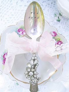 Romantic Vintage Bejeweled Teaspoon, Hand Stamped   Tea Time)
