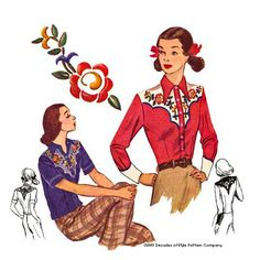 Rodeo Gal shirt from Decades of Style Pattern Company, illustration for 1940s ladies western shirt pattern