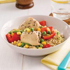Mijoté de quinoa au poulet et aux légumes Pizza Legume, Couscous, Fried Rice, Hummus, Quinoa, Risotto, Fries, Dinner, Ethnic Recipes
