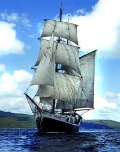 I'm in love. Square-rigged ships are my favorite. This is a brigantine, not quite the British Man'O'War of my dreams, but sufficient.