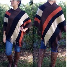 Pullover ponchos Please do not purchase this listing. Comment and I will create a new listing for you.                This great poncho pullover has color-block stripes and is thick and warm - 100% acrylic. Price is firm unless bundled. Sweaters Shrugs & Ponchos