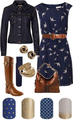 Love this everyday outfit w/coordinating nail wraps.