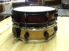 Tiger maple and purpleheart snare drum shells - by Thekiltedcarpenter @ LumberJocks.com ~ woodworking community