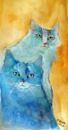Watercolor Cat, Watercolor Paintings, Cat Paintings, Round Robin, Illustration Art, Illustrations, Cat Colors, Blue Cats, Cat Drawing