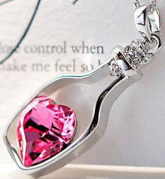 Halskette mit Herz Flaschen Anhänger Wunschflasche Pink Rosa Liebe Partner Kette