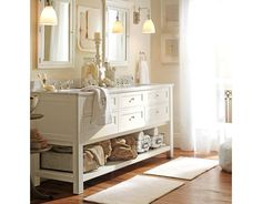 I adore this look - especially for a guest bathroom, to maximize space. Oh, Pottery Barn...