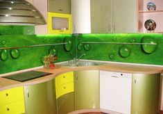 green wall design for modern kitchen…could be great for Hospitality projects..