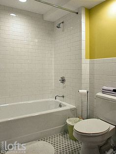 Flooring And A Tub Shower Unit With Subway Style Tile Surround Bathroom Tile Designs, Bathroom Renos, Bathroom Tubs, Bathroom Ideas, Bathrooms, Bathtub Tile, Bathtub Shower, Bathtub Replacement, Ny Loft