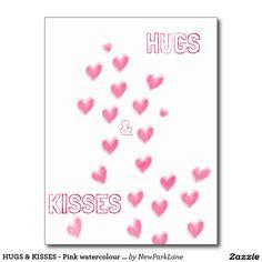 HUGS & KISSES - Pink watercolour hearts design  #love