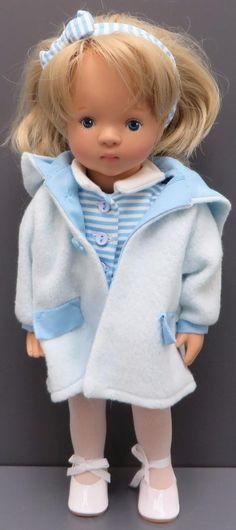 Gotz Sylvia Natterer 15  Vinyl Doll Girl Aurelie 9877478 Blond Blue Eyes Description Gotz 15  Vinyl Doll by Artist Sylvia Natterer  AURELIE  She has blond hair and blue eyes. She is wearing a blue and