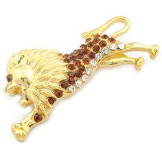 Lion Alloy Rhinestone Drip Fashion Brooch