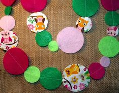 Owl Garland Felt and Fabric with Pink and Green by AFeltAffair, $10.00