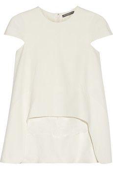 Alexander McQueen Asymmetric crepe top | NET-A-PORTER Beautiful top for an evening out#fashiontrends